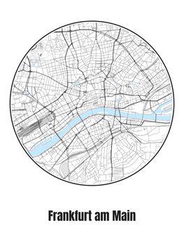 Illustration Map of Frankfurt am Main