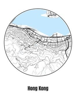 Illustration Map of Hong Kong