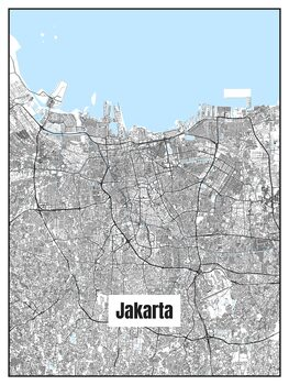 Illustration Map of Jakarta