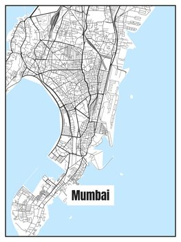 Illustration Map of Mumbai