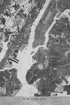 Illustration Map of New York City in gray vintage style