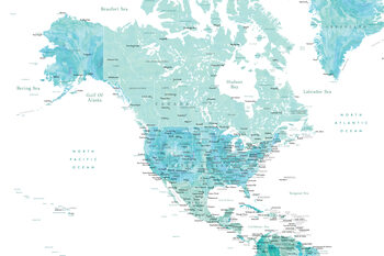 Illustration Map of North America in aquamarine watercolor