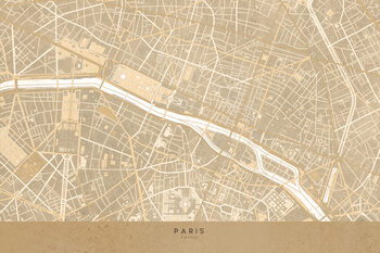 Illustration Map of Paris in sepia vintage style