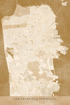 Illustration Map of San Francisco Peninsula in sepia vintage style