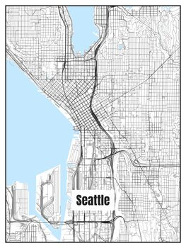 Illustration Map of Seattle