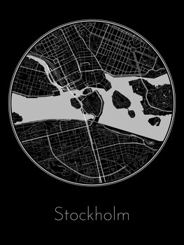 Illustration Map of Stockholm