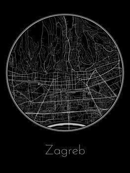 Illustration Map of Zagreb