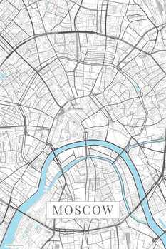 Map Moscow white