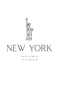 Illustration New York city coordinates with Statue of Liberty