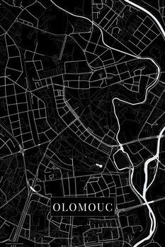 Map of Olomouc black