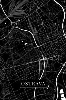 Map of Ostrava black