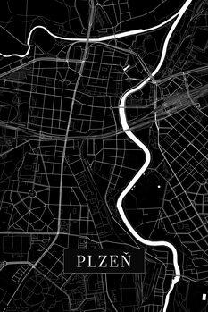 Map Plzen black