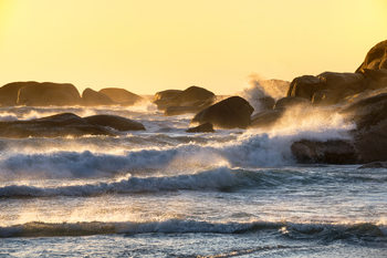 Art Print on Demand Powerful Ocean Wave at Sunset