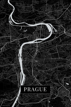 Map of Prague black