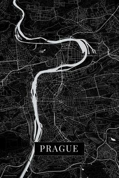 Map of Prague black
