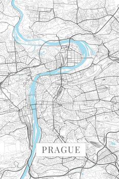Map of Prague white