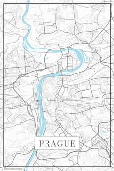 Map of Prague white