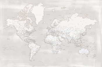 Map Rustic distressed detailed world map in warm neutrals