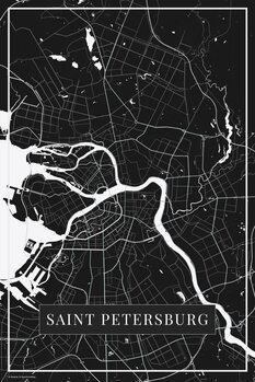 Map of Saint Petersburg black