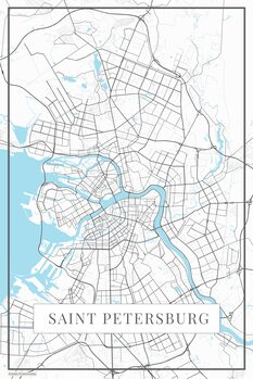 Map of Saint Petersburg white