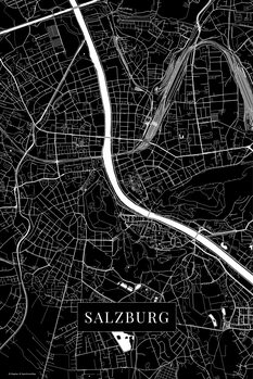 Map of Salzburg black
