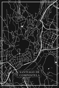 Map of Santiago de Compostela black