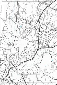 Map of Santiago de Compostela white