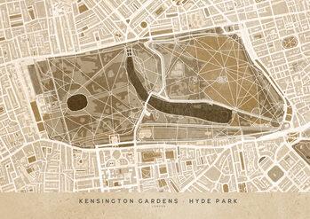 Map Sepia vintage map of Kensington Garden London
