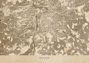 Map Sepia vintage map of Prague