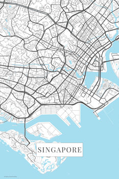 Map of Singapore white