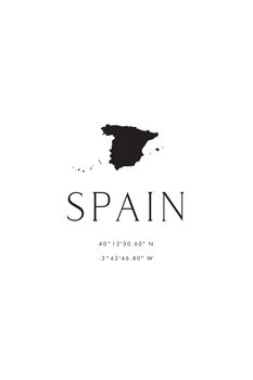 Illustration Spain map and coordinates