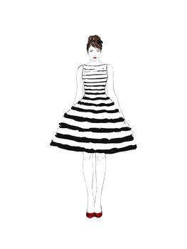 Illustration Striped dress fashion illustration