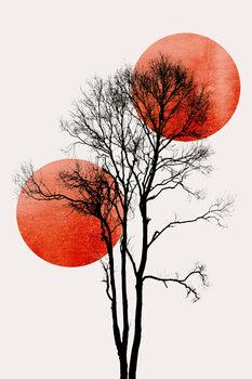 Illustration Sun and Moon hiding