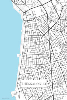 Map of Thessaloniki bwhite