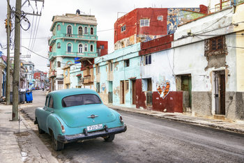 Art Print on Demand Turquoise Classic Car in Havana