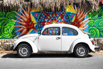 Art Print on Demand White VW Beetle Car in Cancun