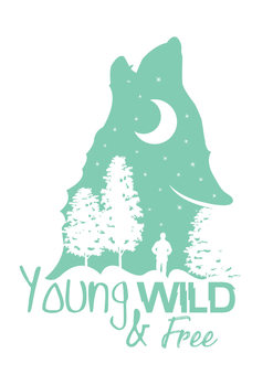 Art Print on Demand Young, Wild & Free - Blue