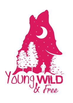 Art Print on Demand Young, Wild & Free - Pink