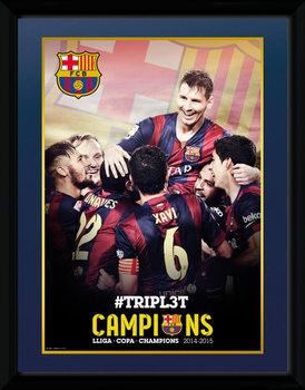Barcelona - Triple Champions 15 Poster encadré en verre