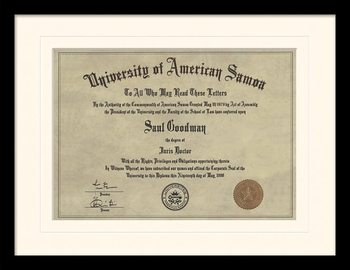 Better Call Saul - Diploma Poster encadré en verre