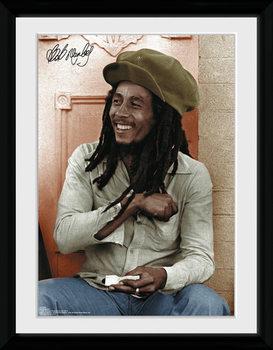 Bob Marley - Rolling Poster encadré en verre