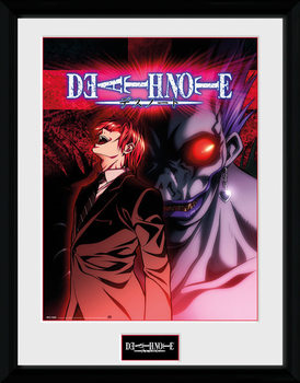 Death Note - Light & Ryuk Poster encadré en verre