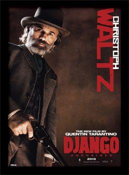Django Unchained - Christoph Waltz Poster encadré en verre