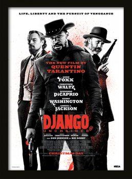 Django Unchained - Life, Liberty and the pursuit of vengeance Poster encadré en verre