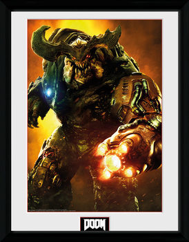 Doom - Cyber Demon Poster encadré en verre