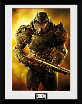 Doom - Marine Poster encadré en verre