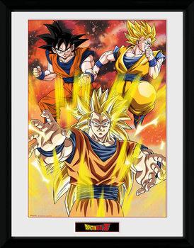 Dragon Ball Z - 3 Gokus Poster encadré en verre