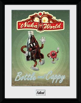 Fallout - Bottle and Cappy Poster encadré en verre