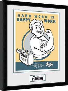 Fallout - Hard Work Poster encadré en verre