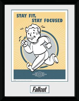 Fallout - Stay Fit Poster encadré en verre